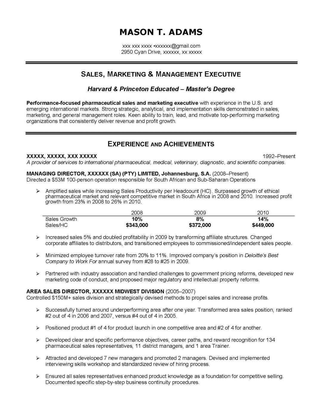 Free sample writing resume