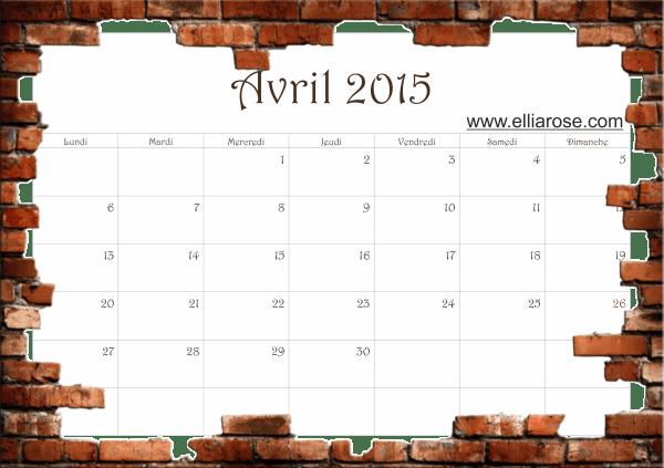cal avril 2015 Ellia Rose briques