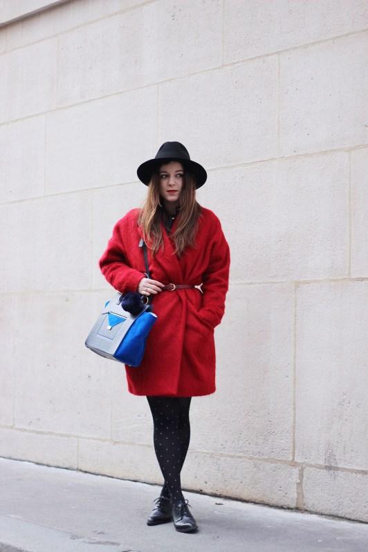 The red coat elodie in paris - Manteau rouge comptoir des cotonniers ...