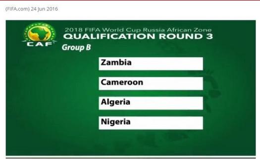 RUSSIA 2018: Nigeria to Battle Cameroon, Zambia & Algeria For World Cup Spot