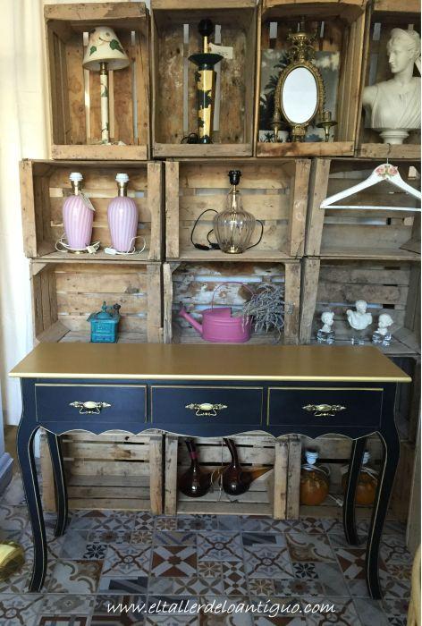 Pintar mueble negro y oro el taller de lo antiguo - Pintar mueble antiguo ...