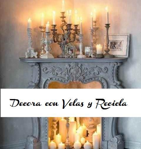 Portada decora con velas chimenea
