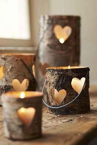 decora con velas en troncos