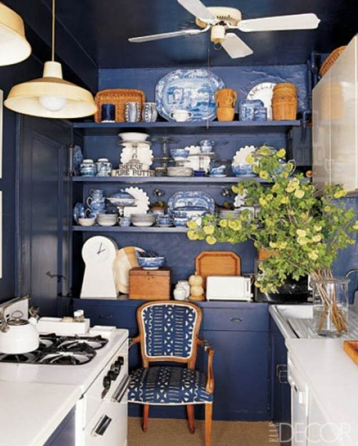 Navy blue and white painted kitchen