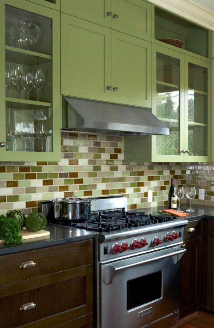 painted wood kitchen green moss