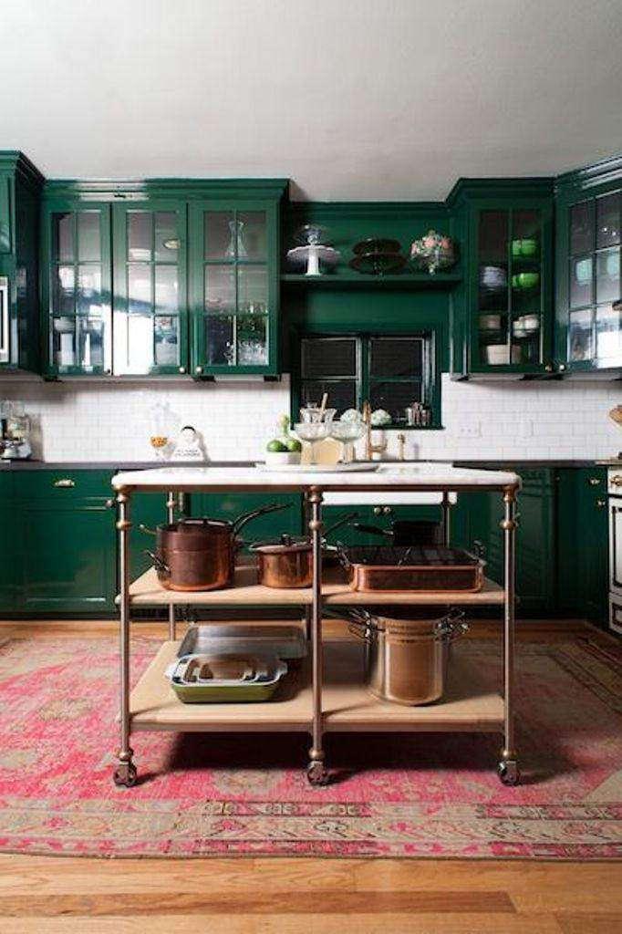 painted forest green kitchen