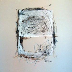 "Silver Screen, Ed McCartan. silk screen, crayon on masonite, 48x48"""