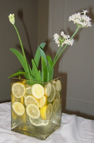 sliced lemon centerpiece 328x500 Alfresco Glam: Outdoor Table Decoration Ideas