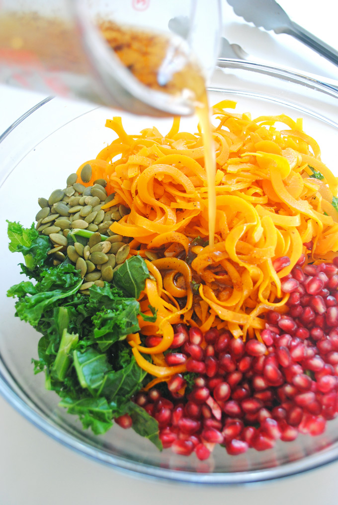 salad is bursting with roasted butternut squash, juicy pomegranate ...