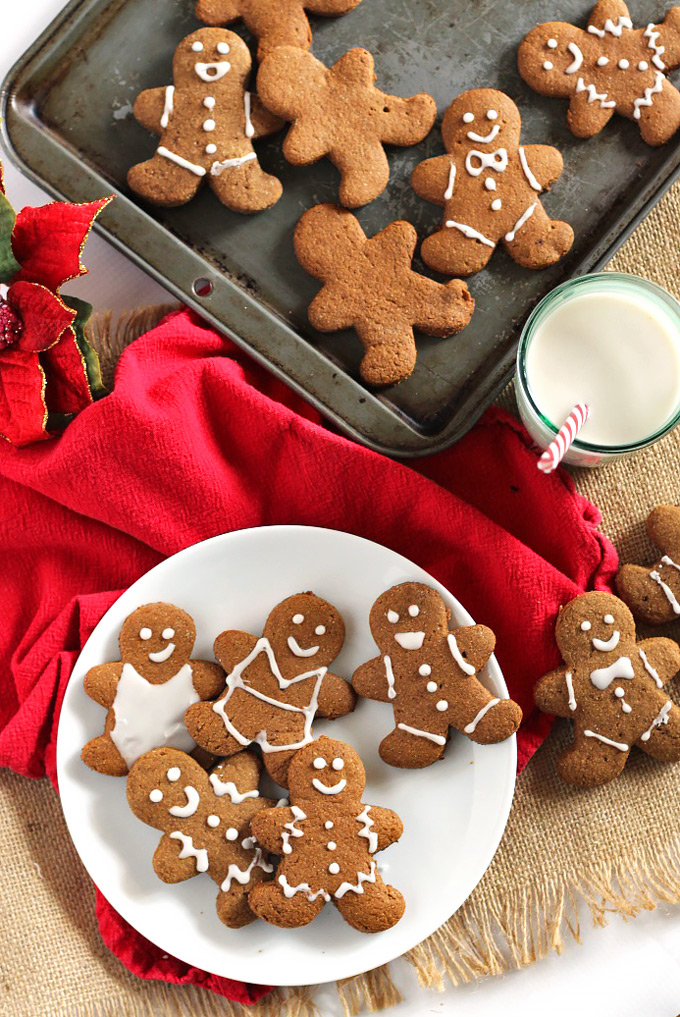 These adorable Vegan Gingerbread Cookies have that classic gingerbread spice and hint of sweetness, but they're whole wheat and made with real ingredients!