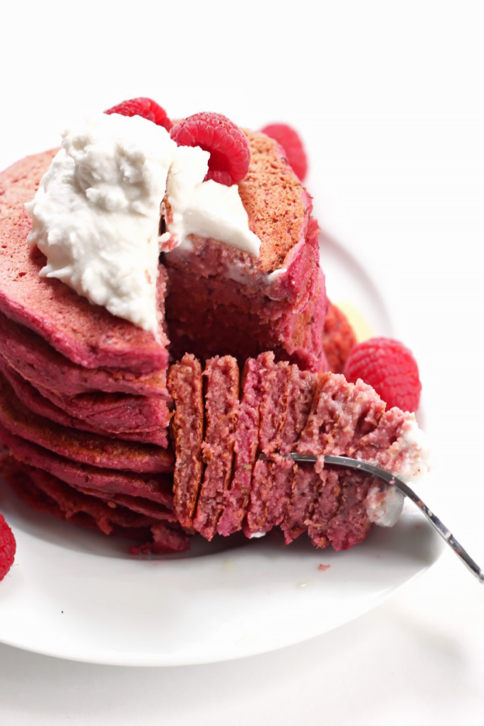 Treat your loved ones on Valentine's day with these tasty Red Velvet Beet Pancakes! The pink color is completely natural, plus they're vegan & gluten-free.