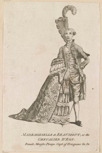 Caricature of d'Éon dressed half in women's clothes, half in men's clothes