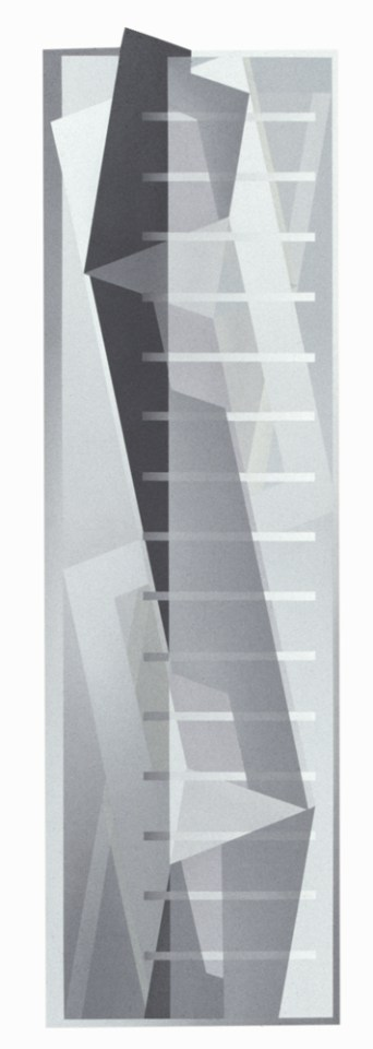 JULIA FARRER Silver Tower (day), 2002, acrylic on plywood, 145 x 43cm