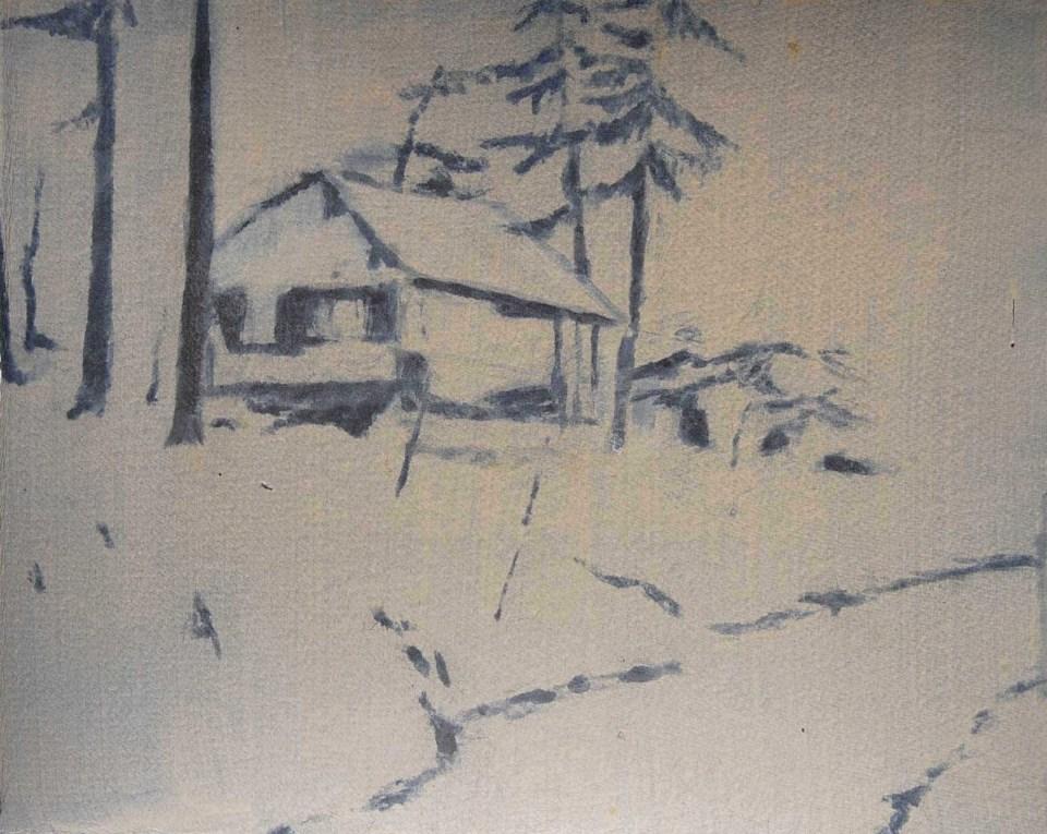 REBECCA SITAR Cabin (Bistra), 2013, oil on paper, 28 x 32cm
