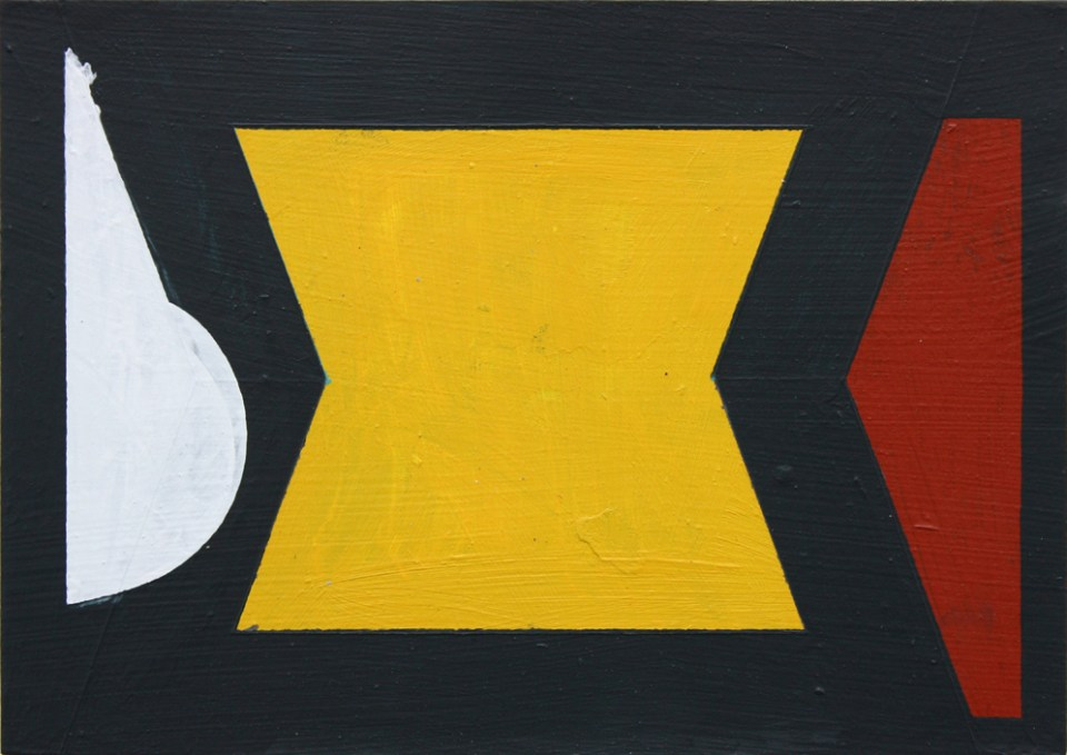 DAVID WEBB Meeting Two People (Yellow), 2016, Acrylic on card, 15 x 21cm