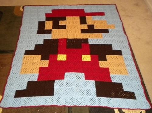 Super Mario 8-bit crochet blanket