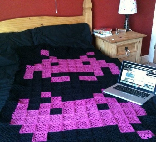 Space Invaders game retro crocheted blanket