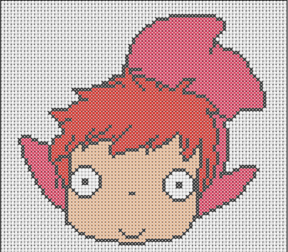 hama ponyo pattern peeler beads cross-stitch