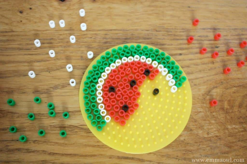 Watermelon Coaster made from Melty Beads