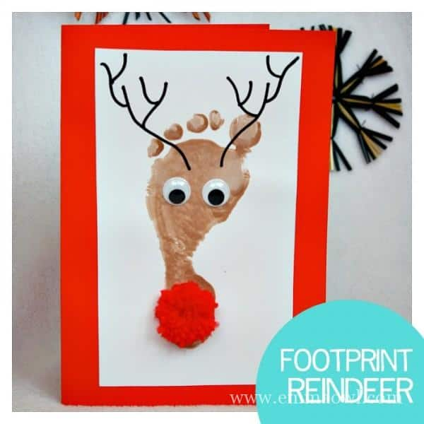 Reindeer Footprint Christmas Cards. All you need is a shiny nose ...