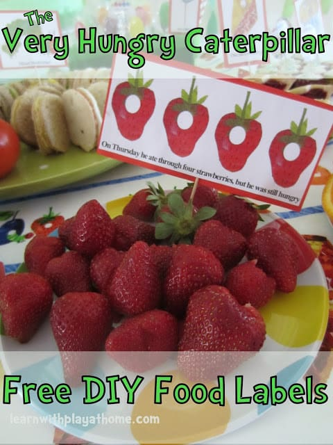 The Very Hungry Caterpillar food labels free printable