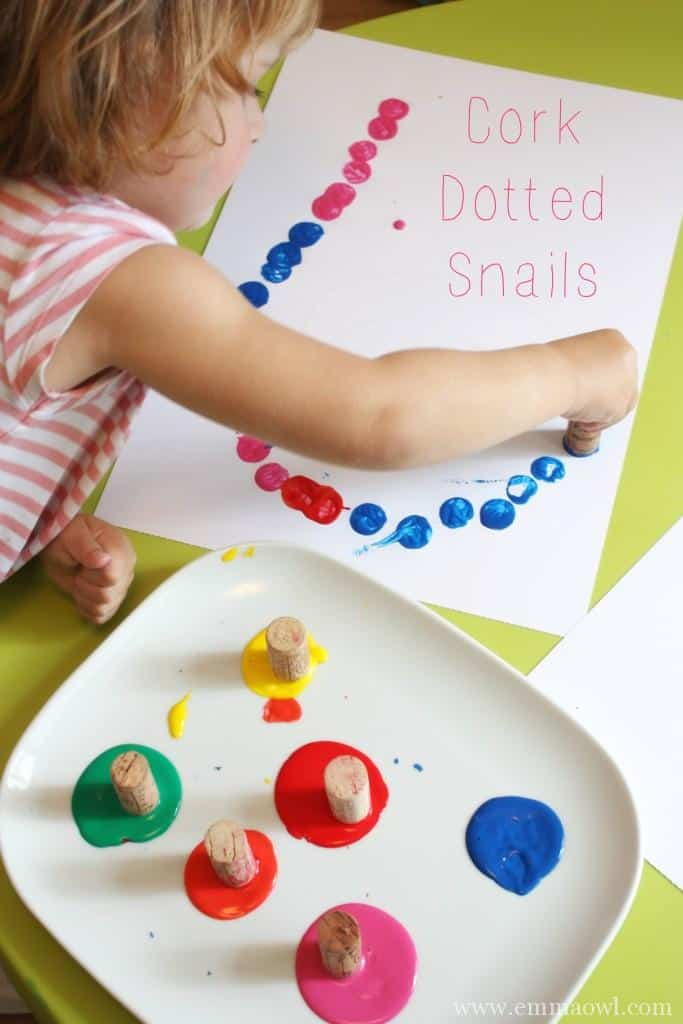 Cork Dotted Snails. Fantastic Art and Craft activity for children