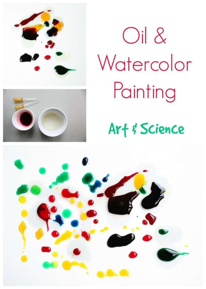 Oil and Watercolor Painting, science and art in one. Great kids activity.