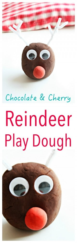 Make your own Chocolate & Cherry Play Dough for the perfect Christmas Kids Activity.