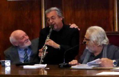 Bruno Mancini, Guido Arbonelli e Antonio Mencarini nell'aula magna della SIAM di Milano in occasione dell'evento DILA inserito nel calendario Bookcity 2016