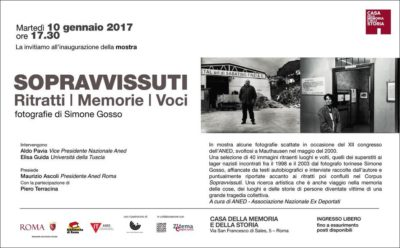 SOPRAVVISSUTI in mostra a Roma presso la Casa della Memoria e della Storia