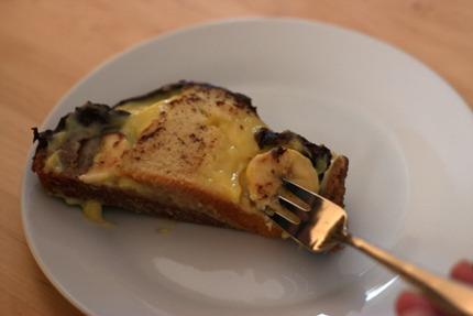 pudding, fork, meter cake