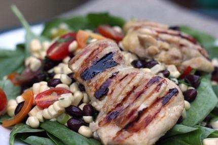 Fresh corn salad and chicken