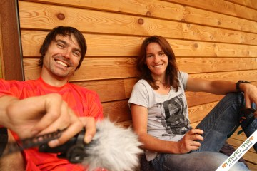 Simon et Anne-Caro lors du podium de la Megavalanche 2011