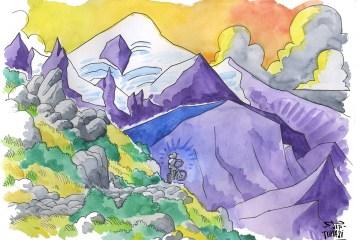 format:24 cm par 32 cm Aquarelle et pointes techniques sur papier aquarelle