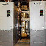 (After) The heating loads were calculated and it was determined they could be met with four 2,000 MBH condensing boilers. Replacing the existing boilers resulted in $112,000 or 44% reduction in annual natural gas use.
