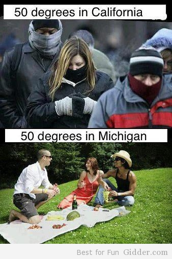 California weather vs Michigan weather, courtesy of imgur.com (Staying Healthy: Cold Weather, Binge Drinking, and Exercising)