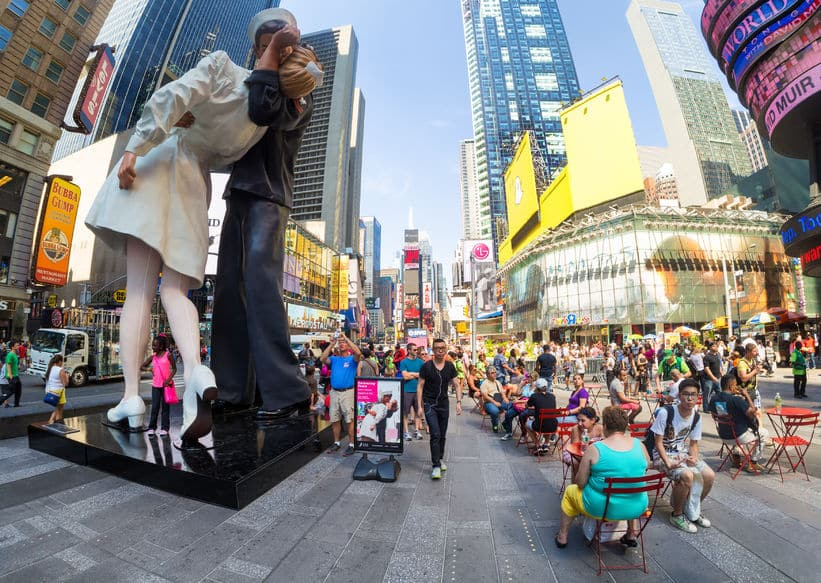 47386118 - tourists at times square in new york city