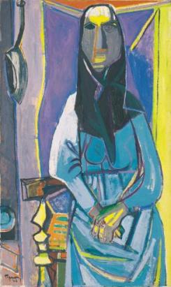 Édouard Pignon, Catalane sur fond bleu (La grande catalane), 1946 Huile sur toile 162,5 x 96,5 cm Collection du Centre Pompidou, Mnam/Cci. En dépôt au musée d'art moderne de Céret. Photographie : Tous droits réservés ADAGP 2013.