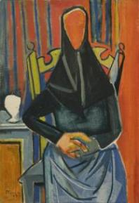 Édouard Pignon, Femme assise (Catalane), 1945 Huile sur toile 56 x 38 cm Collection du musée d'art moderne de Céret, dépôt de collection particulière. Photographie : Robin Townsend/ ADAGP 2013.