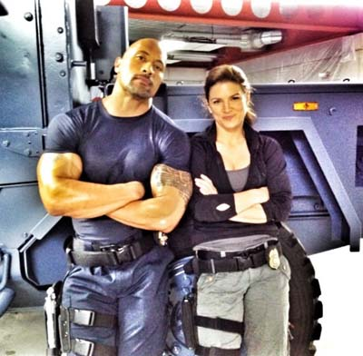 Velozes e Furiosos 6: primeira foto do sets mostra Dwayne The Rock Johnson e Gina Carano