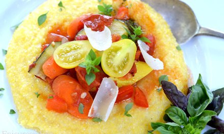 Creamy Polenta with Spicy Summer Vegetable Ragu