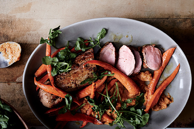 Roast Pork Tenderloin with Carrot Romesco recipe
