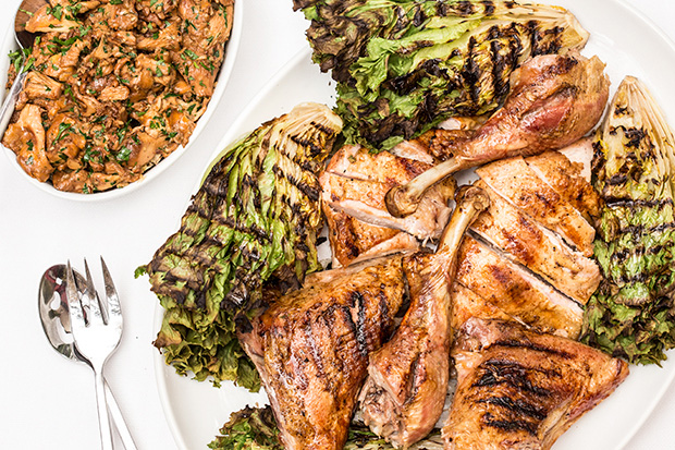 Butterflied Turkey a la Parrilla with Chanterelles and Grilled Chicory recipe