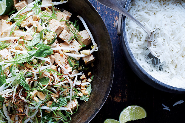 Marinated Tofu with Peanuts and Charred Bean Sprouts recipe