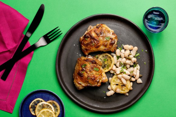 Roasted Chicken Thighs with White Beans, Lemon, and Capers recipe