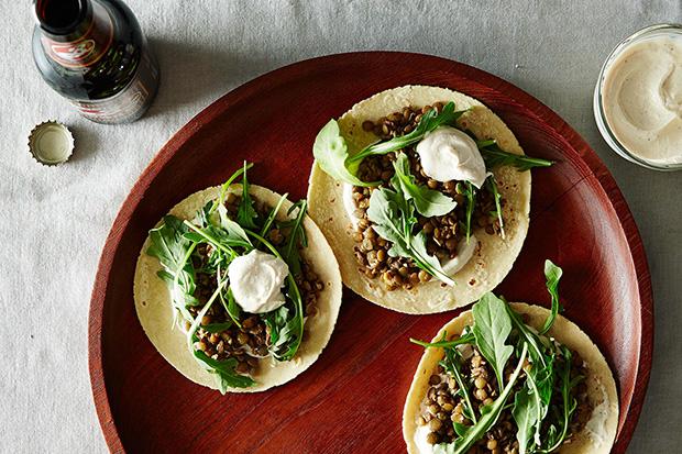 Mushroom-Lentil Tacos with Tahini Yogurt Sauce  recipe
