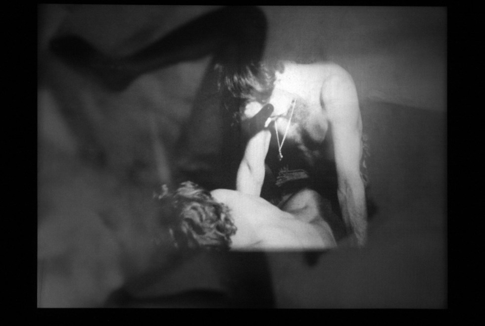 Christmas on Earth, a groundbreaking, sexually explicit film, made by  Barbara Rubin in 1964. Two projectors are used to create the overlapping images.