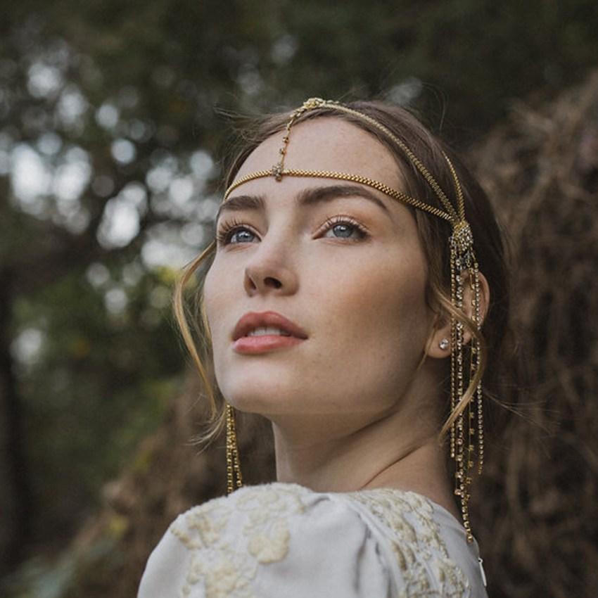 Moroccan wedding headpiece hair chain