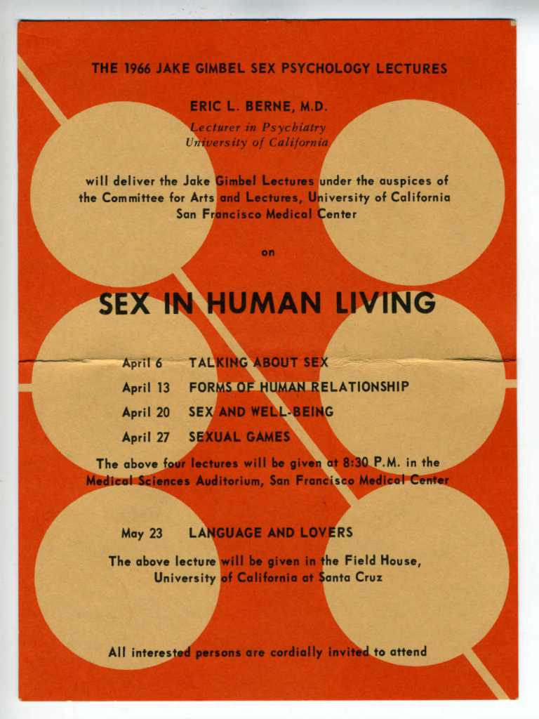 Sex in Human Loving postcard for Eric Berne lectures