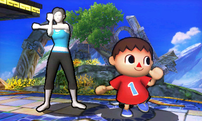 Wii Fit Trainer and Villager from Animal Crossing in Super Smash Bros. for 3DS.